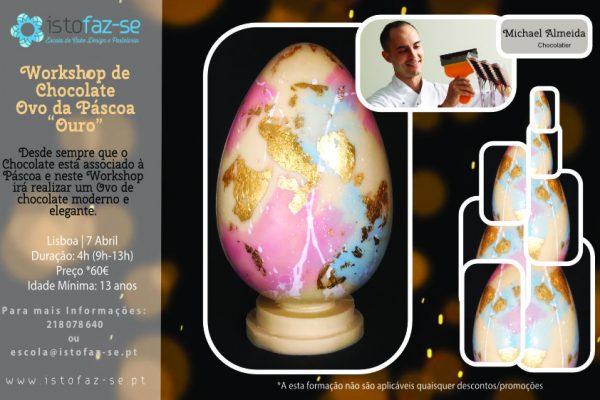 """Workshop de Chocolate – Ovo da Páscoa """"Ouro"""""""