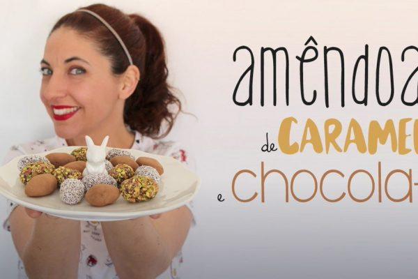 Amêndoas da Páscoa de Caramelo e Chocolate