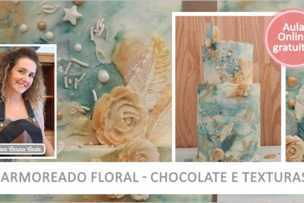 "⭐ Já disponível! Vídeo Aula Gratuita – Marmoreado Floral ""Chocolate e Texturas"""